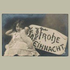 Christmas Photo Postcard with Little Girl as Angel. 1906
