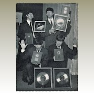 Beatles Vintage Postcard with Golden Records from the 1960s