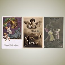 3 Old New Years Postcards with Angels