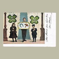 Antique New Year's Postcard with large Clover leaves 1904