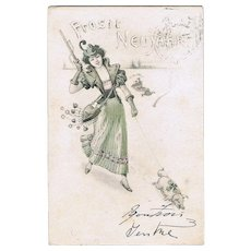 Art Nouveau New Year's Postcard Lady Hunter and Piglet. 1902