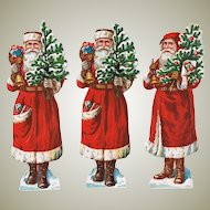 3 Santas Embossed Die Cuts from ca. 1910