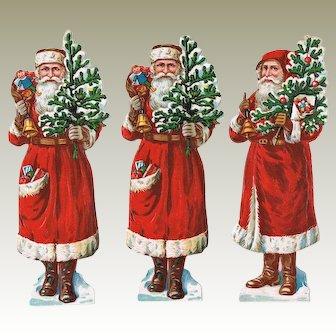 3 Santas Embossed Die Cuts from ca. 1910