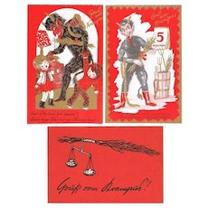 Three Old Krampus Postcards