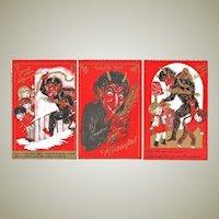 Three Attractive old Krampus Postcards