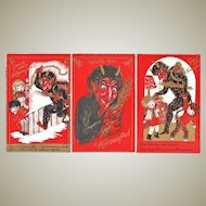 Three Attractive old Krampus Postcards