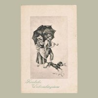 Vintage Postcard with Dachshund as Xmas Greetings