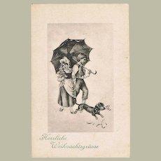 Vintage Postcard with Sausage Dog as Xmas Greetings