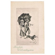 Vintage Postcard with Sausage Dog as Xmas Greetings