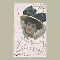 Very decorative Art Nouveau Postcard Lady with fancy Hat
