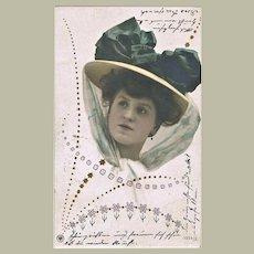 Very decorative Art Nouveau Postcard Lady with fancy Hat