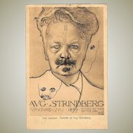 Writer August Strindberg Art Nouveau Postcard by Carl Larsson