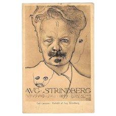 Writer August Strindberg Art Nouveau Postcard by Carl Larsson