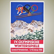 Winter Olympics 1936 Advertising Postcard Poster Style