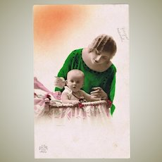 Tinted  Art Deco Photo of Lady with Baby. 1926