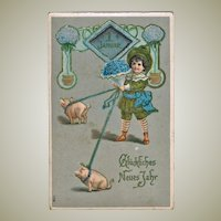 Embossed New Years Postcard Boy with Pigs 1908