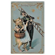 Decorative New Year's Postcard with huge Pig Art Nouveau Design