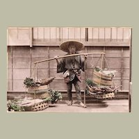 Tinted Japanese Albumen Photo of Vegetable Seller c. 1885