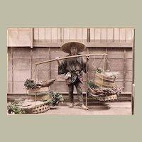 Tinted Japanese Albumen Photo of Vegetable Seller c. 1885