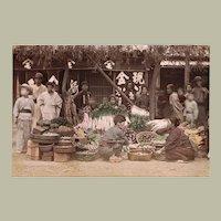 Japanese Albumin Photo with Market-scene c. 1880