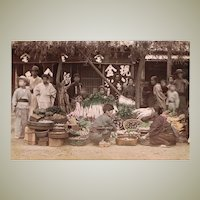 Japanese Albumin Photo with Market-scene c. 1880