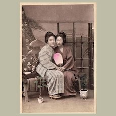 Japan Tinted Albumen Photo 2 Japanese Girls with Fan c. 1885