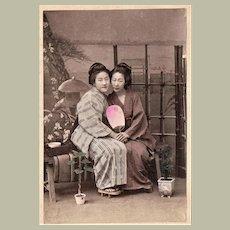 Japan Tinted Albumen Photo 2 Japanese Girls with Fan c. 1885