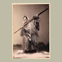 Japanese Peasant with Coat of Straw Tinted Albumen Photo 1880