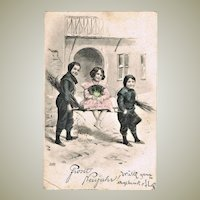Tinted New Years Postcard with Kids 1904