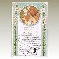 Art Nouveau Postcard Lady with Lilies 1900