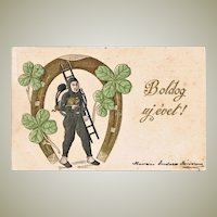 Embossed New Years Postcard with Chimney Sweeper. 1901