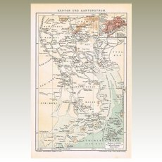 Antique Chinese Map Canton and Region Printed 1899