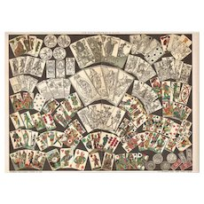 Old Chromolithograph with Different Decks of Cards. Very decorative, 1899