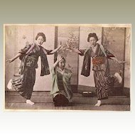 Girls performing. Japanese tinted Albumen Photo from 1880s