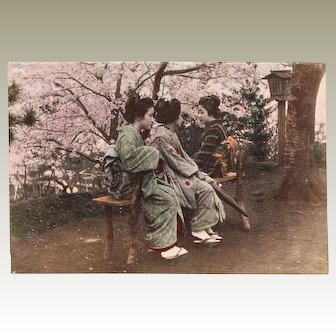 Japanese Albumen Photo with Three Ladies, Plum Blossoms. 1880s