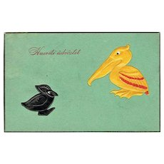 Unusual Art Deco Easter Postcard with Pelican