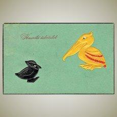 Unusual Art Deco Easter Postcard with Pelican