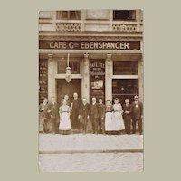 Vintage Photo Postcard of traditional Austrian Cafe.