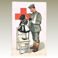 Red Cross Postcard Girl with Soldier W.W.I. Period
