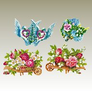 Four Decorative Die Cuts with Flowers and Doves. c. 1910