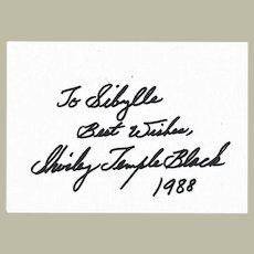 Shirley Temple Black Autograph. CoA