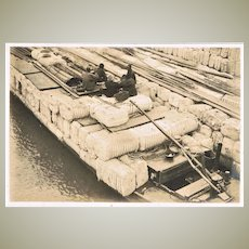 Old Chinese Photo with Coolies Transporting Goods. 1920s