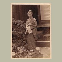 Japanese Lady in Garden. Albumen Photo, 1880s
