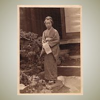 Japanese Lady in Garden. Albumen Photo, 1880s