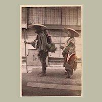 Japanese Albumen Photo with Family. 1880s