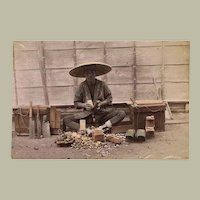 Japanese Albumen Photo with Shoe Maker. 1880s