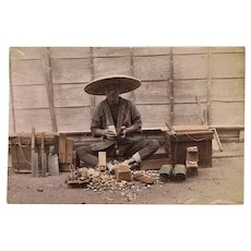 Japanese Albumen Photo with Shoe Maker. 1880s