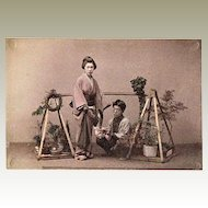 Japanese Albumen Photo Flower Sellers. 1880s