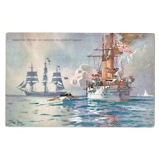 Japanese and Russian Ships. Vintage color-Postcard.