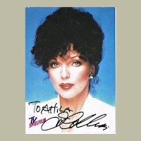 Joan Collins Autograph on Card. CoA